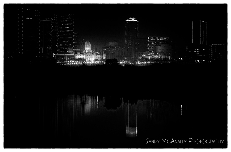 Fort Worth Skyline - Black and White